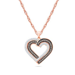 10k Rose Gold 1/4ct TDW Champagne Diamond Pendant Necklace