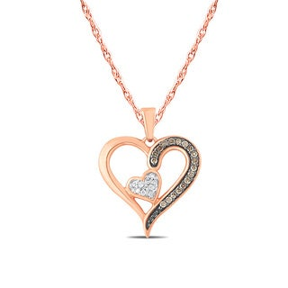 Rose Gold 1/6ct TDW Diamond Delicate Duo Heart Charming Pendant Necklace (I1-I2 ,H-I )