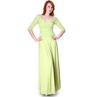 Evanese Women's Slip On Elegant Formal Long Dress w/ 3/4 Sleeves Ball Gown Medium Size in Apple Green (As Is Item)