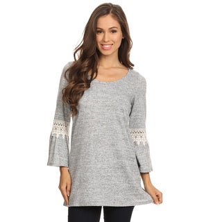 Women's Grey Polyester and Spandex Crochet Lace Solid Tunic