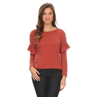 Women's Soft Fuzzy Fabric Ruffle Top