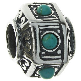Queenberry Sterling Silver Hexagon Bead Turquoise Stone European Bead Charm