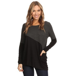 Women's Grey Cotton and Polyester Color-block Tunic