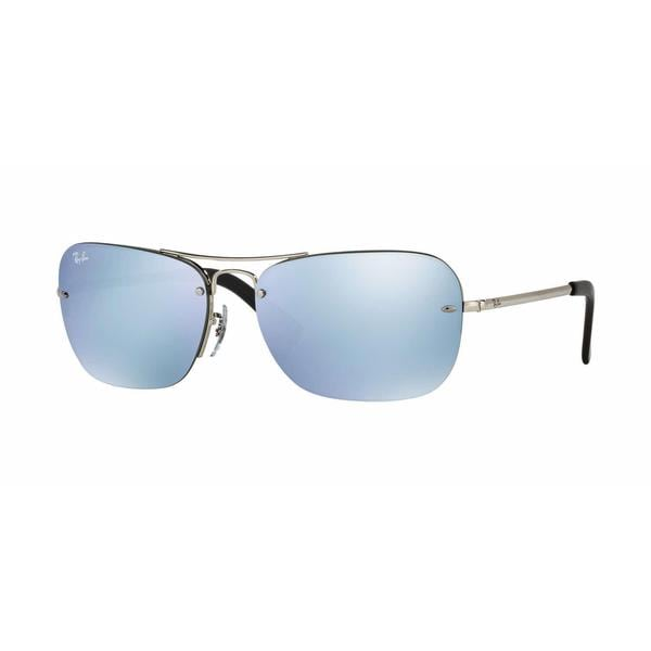 a87cf62772 Shop Ray Ban Mens RB3541 003 30 Silver Metal Rectangle Sunglasses ...