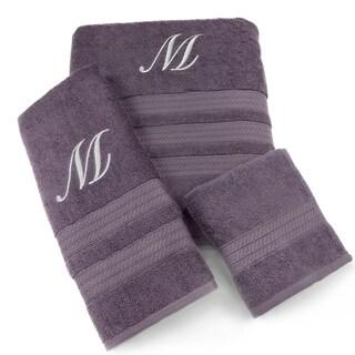 3-piece Plum Monogram Towel Set