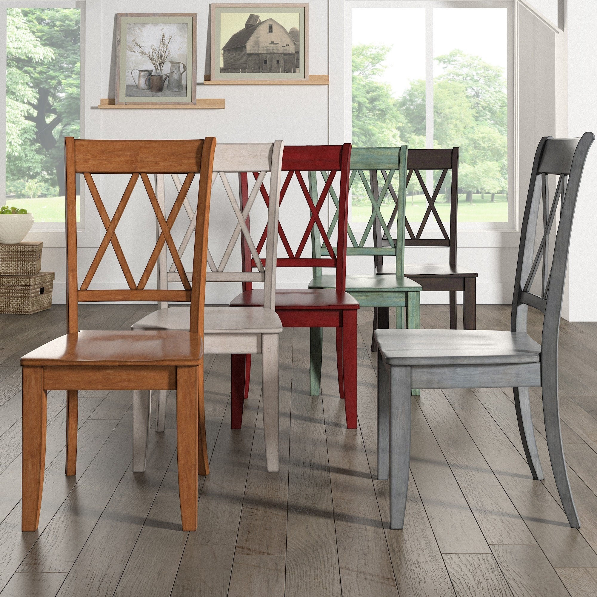 Excellent Eleanor Double X Back Wood Dining Chair Set Of 2 By Inspire Q Classic Ibusinesslaw Wood Chair Design Ideas Ibusinesslaworg