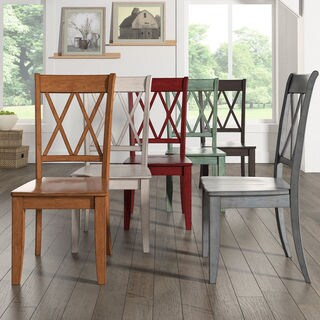 Eleanor Double X Back Wood Dining Chair (Set of 2) by iNSPIRE Q Classic (Option: Antique White)