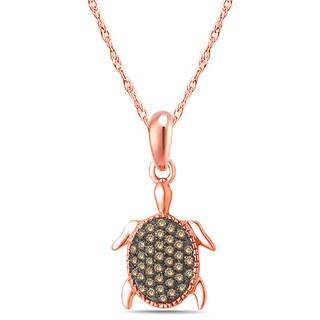 10k Rose Gold 1/6ct TDW Diamond Tortoise Fashion Pendant Necklace (I1-I2 , )
