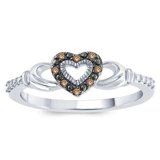 Sterling Silver Champange Diamond Accent Claddagh Ring