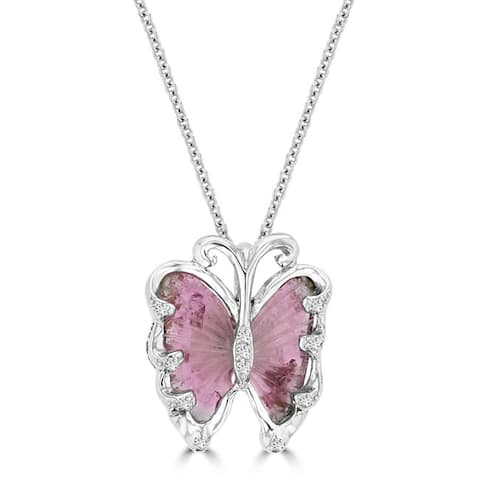 14K White Gold 4.90ct Tourmaline and 0.09ct TDW Diamond Butterfly Pendant Necklace by La Vita Vital (VS-SI1, G-H) - Pink