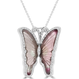 14K White Gold 10.35ct Tourmaline and 0.64ct TDWDiamond Butterfly Pendant Necklace by La Vita Vital (VS-SI1, G-H)