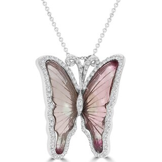 14K White Gold 10.35ct Tourmaline and 0.64ct TDWDiamond Butterfly Pendant Necklace by La Vita Vital (VS-SI1, G-H)