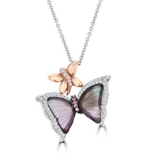 14K White Gold 8.29ct Tourmaline and 0.12ct TDW Diamond Butterfly Pendant Necklace by La Vita Vital (VS-SI1, G-H)