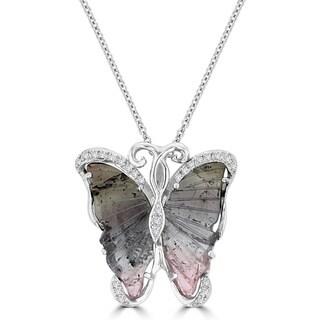 14K White Gold 6.50ct Tourmaline and 0.14ct TDW Diamond Butterfly Pendant Necklace by La Vita Vital (VS-SI1, G-H)