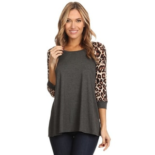 Women's Rayon and Spandex Combination Leopard Sleeve Top