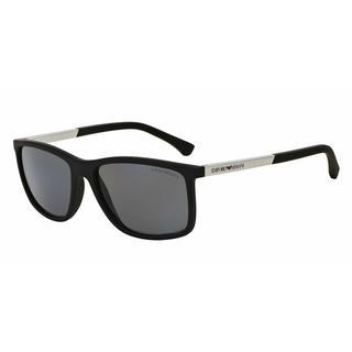 Emporio Armani Mens EA4058 506381 Black Plastic Rectangle Sunglasses