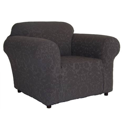 Floral Jacquard Brown Stretch Chair Clipcover
