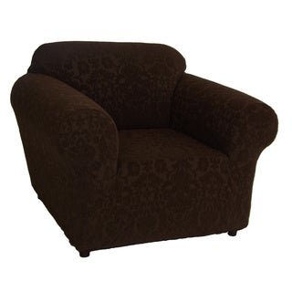 Floral Jacquard Brown Polyester/Spandex Stretch Chair Clipcover