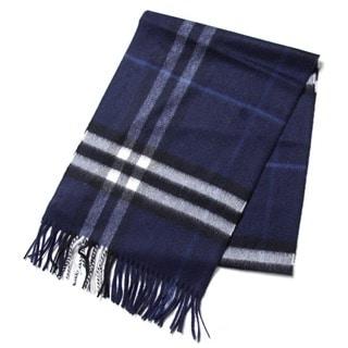 Burberry Indigo Blue Cashmere Check Scarf