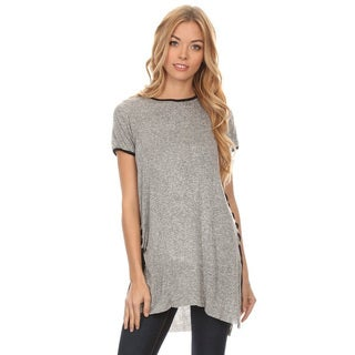 Women's Grey Cotton/Polyester Side Corset Detail Tunic