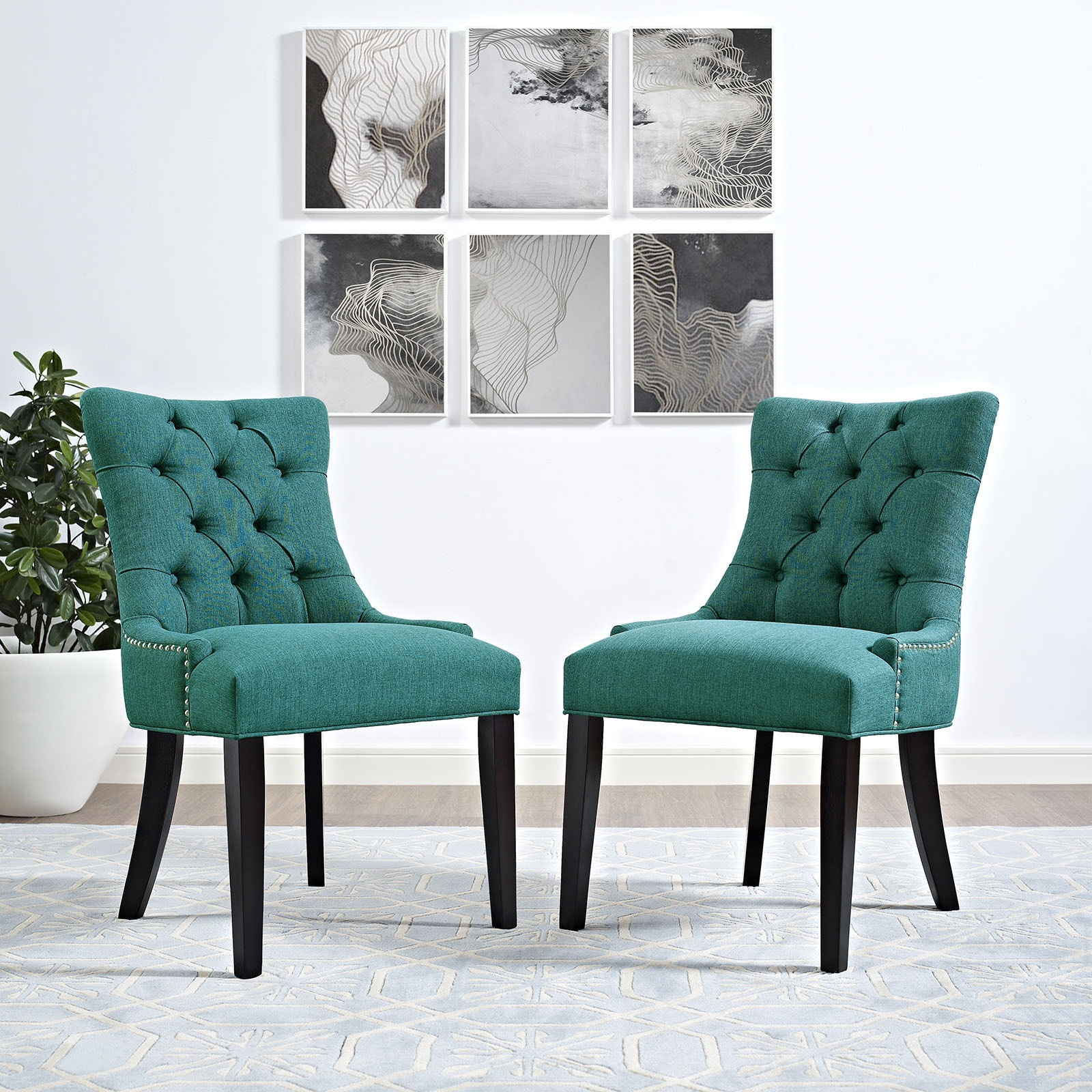 Shop Copper Grove Colville Button Tufted Fabric Dining Chair (Single ...