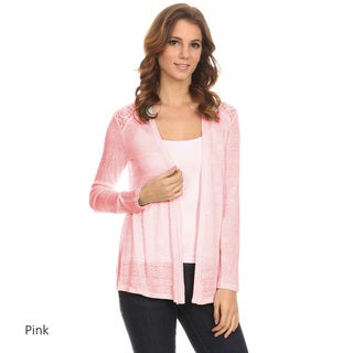 Women's Pink/Off-White Rayon, Polyester, and Spandex Sheer Lace Detail Loose-fitting Cardigan