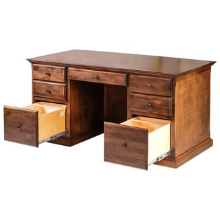 Forest Designs Traditional Alder Executive Double Pedestal Desk with Mission Knobs