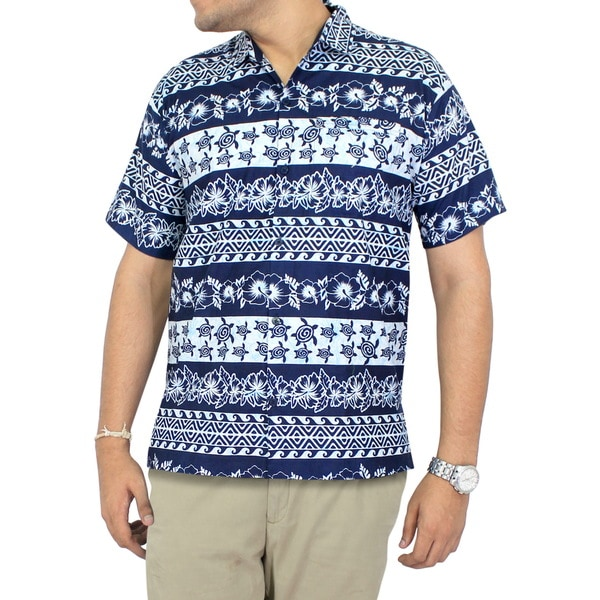 3a31059cb Shop La Leela Men's Blue Cotton Relaxed-fit Short-Sleeve Hawaiian Shirt -  Free Shipping On Orders Over $45 - Overstock - 13470343