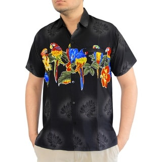 La Leela Men's Multicolored Silk Parrot-design Short Sleeved Shirt