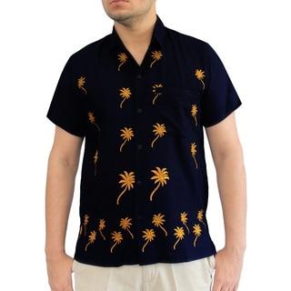 La Leela Men's Blue Rayon Vintage Button-down Regular-fit Short-sleeved Hawaiian Shirt