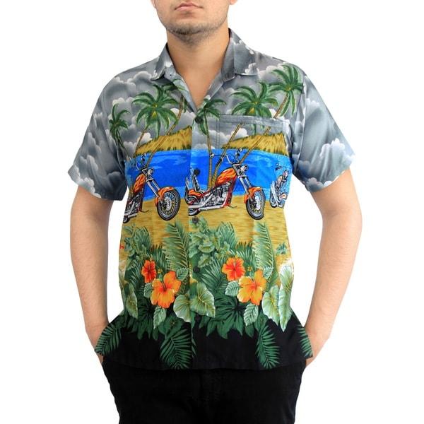 La Leela Vintage Men's Aloha Button down Relaxed fit Short sleeve Hawaiian Shirt