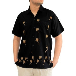 La Leela Men's Black Rayon Beachwear Aloha Button-down Casual Office Short-sleeved Hawaii Shirt
