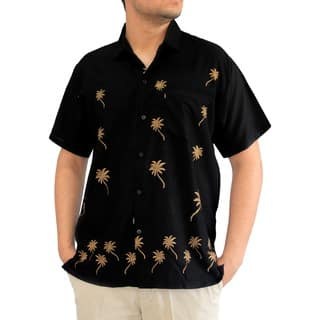 La Leela Men's Black Rayon Beachwear Aloha Button-down Casual Office Short-sleeved Hawaii Shirt|https://ak1.ostkcdn.com/images/products/13470373/P20157673.jpg?impolicy=medium