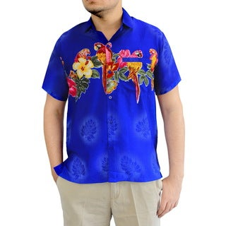 La Leela Beach Wear Mens Parrot Aloha Casual Fancy Hawaiian Short Sleeves Collar Shirt