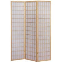 Q-Max Brown Three-panel Japanese Oriental-style Room Screen Divider