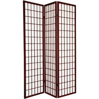 Q-Max Japanese Oriental Style Dark Red 3 Panel Decoration Room Screen Divider