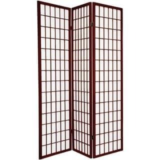 Q-Max Japanese Oriental Style Dark Red 3 Panel Decoration Room Screen Divider