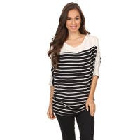 Women's Black and Grey Rayon and Spandex Striped Tunic