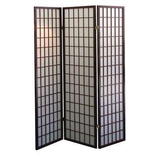 Q-Max Three-panel Dark Cherry Decoration Japanese Oriental-style Room Screen Divider