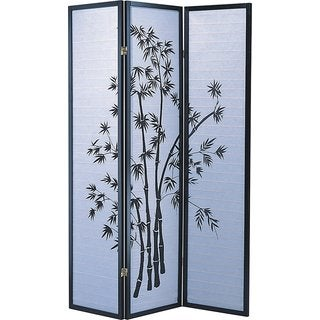 Q-Max Black and Grey Bamboo 3-panel Oriental-style Room Divider