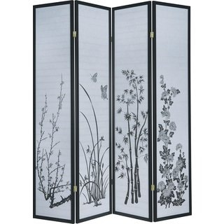 Q-Max Japanese-style Multicolored Bamboo 4-panel Screen Divider