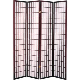Q-Max Cherry Four-panel Japanese Oriental-style Room Screen Divider