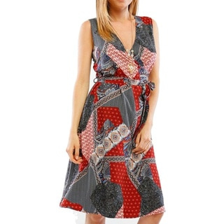 Women's Multicolor Polyester V-neck Sleeveless Medallion Dress
