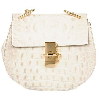 Chloe Drew Natural Croc Embossed Leather Medium Shoulder Handbag
