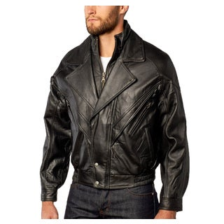 Men's Midway Bomber Leather Jacket Double Collar Zip-out Liner