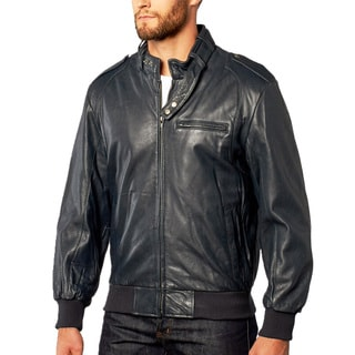 Men's Navy Pebble Lamb Leather Moto Bomber Jacket