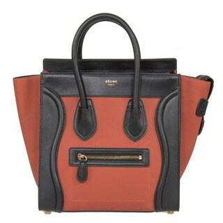 Celine Micro Luggage Tri-Color Maroon Black Leather Handbag