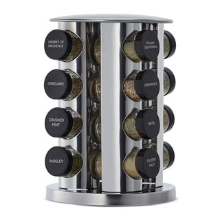 Kamenstein Silver Stainless Steel/Glass 16-jar Spice Rack