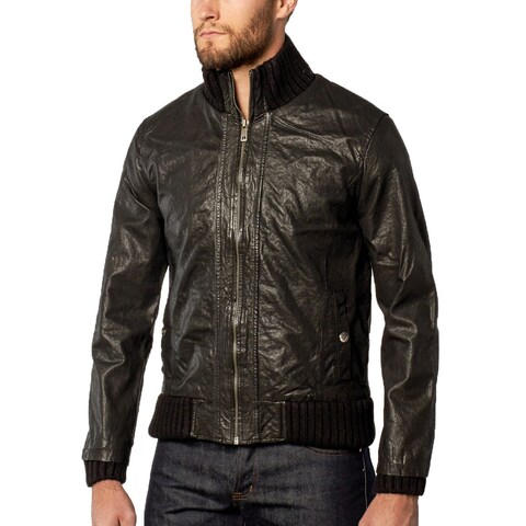 Men's Black Washed Lamb Leather Bomber Jacket