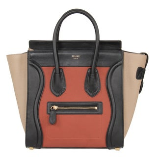 Celine Micro Luggage Tri-Color Black Tan Leather Handbag